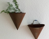 Vintage Rustic Wall Pockets Sconces Wall Hangings Cone Shaped Rusty Primitive