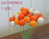 Orange Felt Ball Flower Bouquet - 2 cm felt craspedia, tan felt balls, orange fake flowers, orange billy ball buttons, Orange Faux Flowers