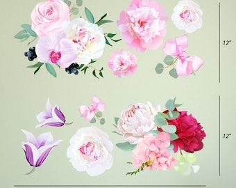 Peony Flowers Seasonal Bouquet Wall Sticker Rose Orchid Burgundy Red White Peony Art Removable Easy to Apply #3030