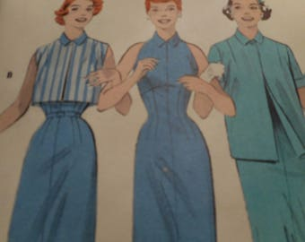 Vintage 1950's Butterick 7321 Dress and Jacket Ensemble Size 14 Bust 32