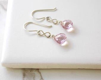 Sterling Silver Eternity Earrings. Pink Quartz, Gemstones,Birthstone