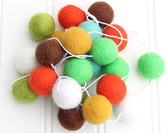 Felt Ball Garland: Woodland, Pom Pom Garland, Nursery Decor, Felt Ball Bunting, Baby Shower Decor, Orange Green Brown, Kids Room Garland