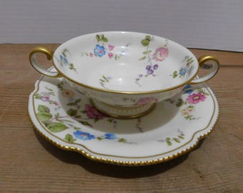 Vintage Castleton Sunnyvale Footed Cream Soup Bowl and Saucer