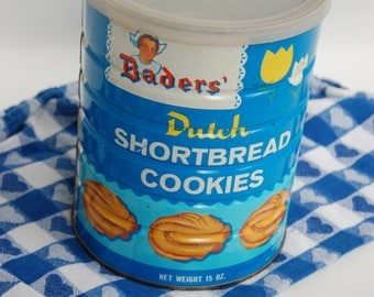 Vintage Cookie Tin. Bader Dutch Shortbread cookie canister. Blue cookie tin can.