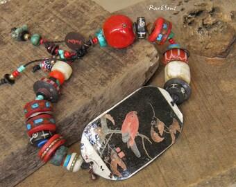 Bracelet bohemian-bracelet vintage-assembly ethnic-style asian-look rustic-bracelet bird-red coral-ivory-turquoise-black