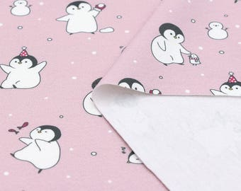 """Playing Penguin Cotton Interlock Knit - Pink - By the Yard (31"""" x 36"""") 82177 GJ"""