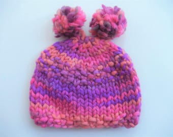 hand knitted baby hat with 2 pom poms / soft baby cap / baby hat pink orange mix 0-3 month