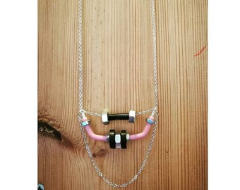 irom maden silver chain and silver nuts  long necklace with black and pink plastic tubes