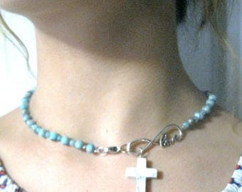 Blue Jasper Choker, Infinity Love, Howlite Cross, Stainless clasp, Free Shipping, Necklace, 16 inches