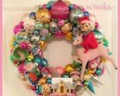 "Chic Vintage Ornament Wreath ~Large 20"" , Shiny Brite, Vintage Knee Hugger Reindeer Putz House OOAK!"