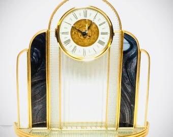 Art Deco Leaded Glass Mantel Clock Quartz Movement, Textured Glass