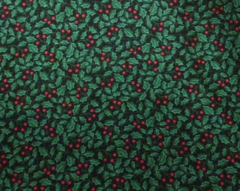 "23"" of Christmas Quilt Cotton Fabric  Holly Berries and Leaves on Black Ground"