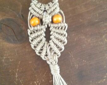 SALE Macrame Owl Keychain