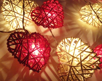 Red U0026 White Rattan Heart LED String Fairy Lights By Flowerglow   Romantic  Lighting For Home