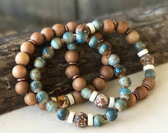 Wood Bracelet Set, Wood Ceramic Bracelets, Stacking Bracelet, Stretch Bracelets, Sandalwood Bracelet, Boho Jewelry, Earthtones, Aqua, Gift