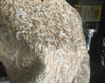 Vintage wedding dress lace brocade ivory off white