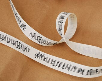 Musical Notes Ribbon, 15mm (5/8) width, Rustic Cream with Charcoal Print