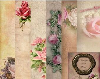 SALE Vintage Floral Digital Background: Vintage Floral Digital Paper Pack , Vintage Paper Pack, Digital Download, Commercial  No. 1183