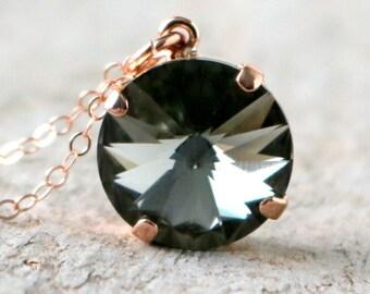 Black Diamond | Swarovski Necklace | Crystal Necklace | Swarovski Crystal | Rose Gold Necklace | Beach Wedding | Black Diamond Wedding