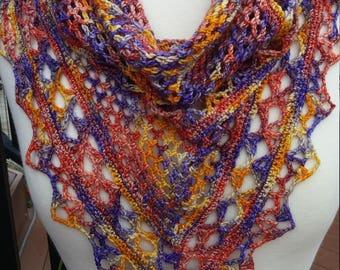 Crochet Triangle Lace  Shawl- Yellow, Orange, Blue