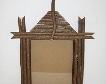 Rustic Twig Log Cabin Picture Frame/Rustic Wooden Frame/Cabin Decor