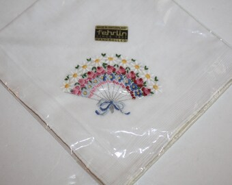 Vintage New Fehrlin Embroidered White Cotton Floral Hankie/Hand Rolled/Made in Switzerland