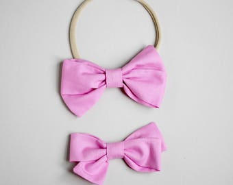 Rose Pink Piper bow headband or clip