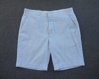 RARE Vintage 1980s Brooks Brothers 100% Cotton Seersucker Wash 'n' Wear Flat Front Shorts Size 35.  Made in USA.