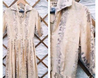 1950s vintage dress cream cotton rural folk scene print Californian fifties fitted good condition UK 10