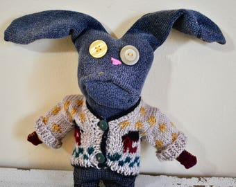 Unique Sock Animal Bunny with Sweater and Plaid Shorts, Hand-Stitched, Made with all Reclaimed Clothing, Hipster Stuffed Animal, Plush, OOAK