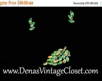 50% Off Sale Vintage Pistachio and Citrine Brooch Pin Earrrings Set