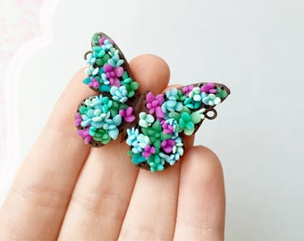 floral butterfly pendant