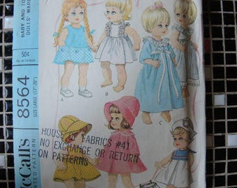 "vintage 1960s McCalls sewing pattern 8564  baby doll wardrobe for 17""-20"" dolls"