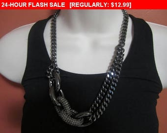 Rhinestone chain bib necklace, statement necklace, estate jewelry