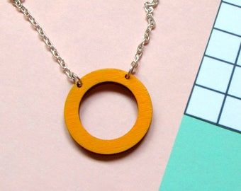 Circle Wooden Necklace - Geometric Jewellery - Mustard Yellow Necklace - Gift Idea - Birthday Gift - Circle Necklace - Contemporary