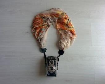 Floral camera strap Luxury camera strap Moonlight camera strap Scarf camera strap Camera strap scarf Silk chiffon camera accessories