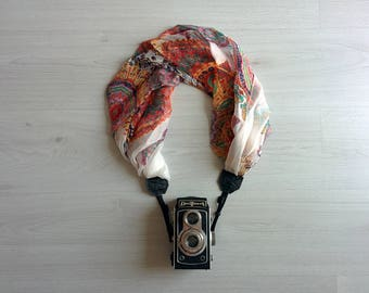 Camera strap scarf Luxury camera strap Scarf camera strap DSRL camera strap Camera accessories Silk fabric camera strap Chiffon Camera strap