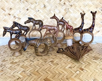 Vintage African Napkin Rings Wine Stopper Hors d'oerves Picks Cocktail Wood African Animal Wooden MCM Kitchen Mid Century Zebra Giraffe