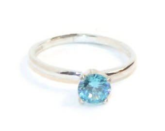 1 Carat Blue Diamond Promise Ring, Purity Ring, Promise Ring, Sterling Silver Solitaire Ring