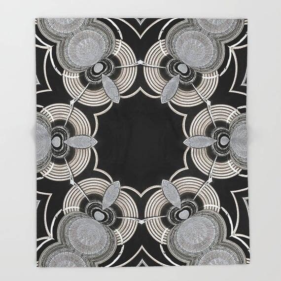 Fleece, Throw Blanket, Silverstone Kaleidoscope, Blanket,Photography, Mandala, Bedspread, Photo, Abstract, Home Decor, Housewarming Gift