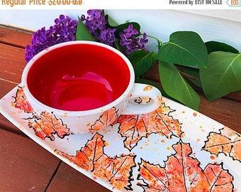 SALE-- Autumn Leaf Luncheon Set, lunch plate set, leaf plate, cup and plate set, ceramic soup mug set, christmasinjuly