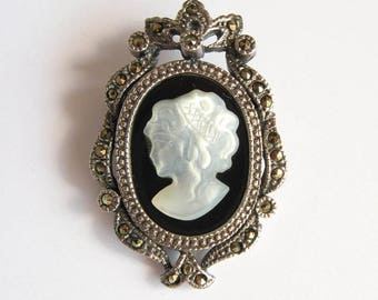 Vintage 925 Carved Mother of Pearl and Marcasite Cameo Brooch Pendant Pin