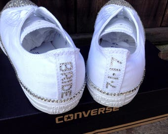 Customize Your Converse Letter Number Date ADD ON DETAIL Glass Slippers w/ Swarovski Crystal Chuck Rhinestones Bling All Star Wedding Shoes