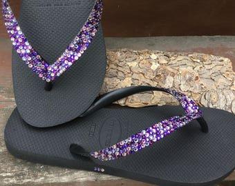 Custom Purple Rainbow Crystal Flip Flops w/ Swarovski Jewel Havaianas flat Cariris Wedge Shoe Multi Color Confetti Rhinestone Magic Carpet