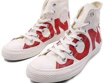 High Top Converse Word Play White Ivory Red logo GlassSlipper w/ Swarovski Crystal Custom Kick Chuck Taylor Rhinestone Bling All Star Shoe