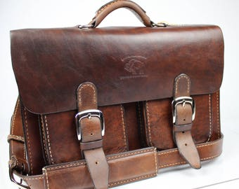 Leather Messenger Bag,  Leather Briefcase, Leather shoulder bag,fits Macbook Pro 169
