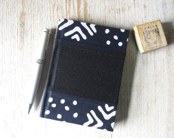 Small A6 African Print Journal Notebook Notepad Jotter 200 lined pages with hardback cover - quilted mudcloth design