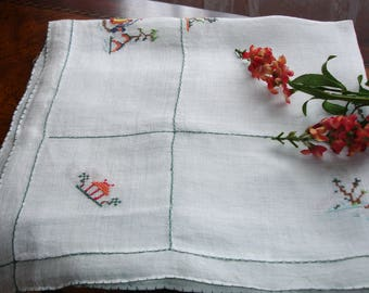 """Table cover, Table topper, Tea linens, Asian table cover, cross stitched tablecover, Asian decor, Asian tea linen, 29"""" square, vintage 1960s"""