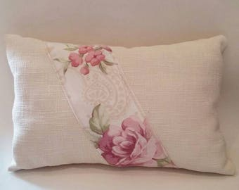 Handmade English rose, oblong, scatter cushion. Throw pillow. Home decor,