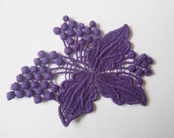 Purple 7 x 6 cm lace applique